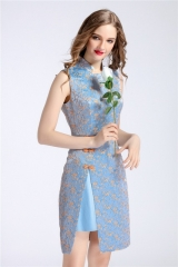 Women Summer Dress High Quality Stand Neck Embroidery Elegant Woman Chinese Cheongsam Dresses blue S