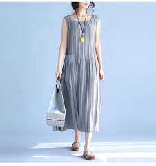 Women's Summer Dresses 2017 Pure Color Casual Women Draped Dress Sleeveless Plus Size Dresses gray L