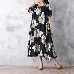Summer Bohemia Dress China Brand Women Floral Printing Flower Maxi Long Dresses Female navy M