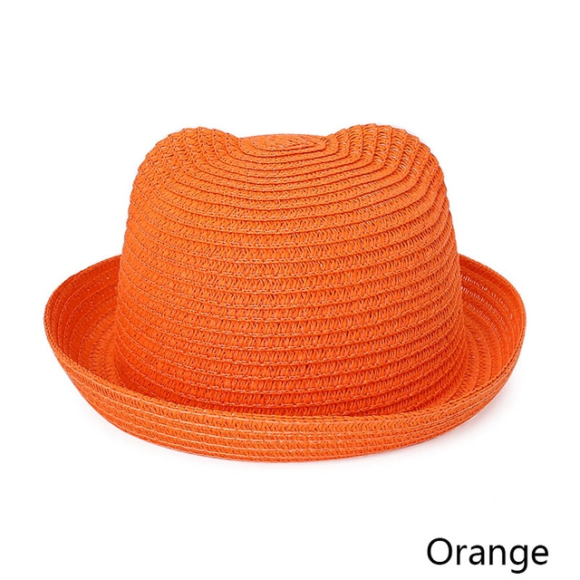 4a955c3fc4b Fashion Ears Straw Hats Bucket Cap Children Sun Summer Cap Kids Solid Beach  Panama Caps  08  1  Product No  755705. Item specifics  Brand