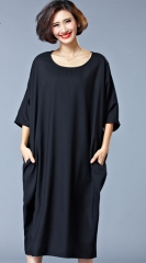 Women's Plus Size Dresses Casual Women Pure Color Red Black Short Sleeve Big Sizes Dress black one size