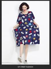 2017 Summer Plus Size Dresses Fashion Cotton and Linen Loose Korean Kawaii Dresses dark blue M