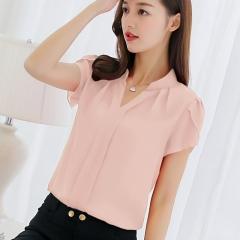 Summer  Plus Size 3XL White Shirt Female  Short Sleeve Shirt Fashion Bodycon Leisure Chiffon pink s