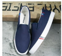 Top Quality Slip On Loafers  Shoes Fashion Personality Stripe Fabric Patchwork  Shoes Casual blue 41