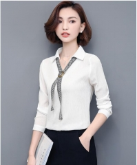 Women Blouse Shirt  Elegant Lady Autumn Long Sleeve Chiffon Shirt Women Office Clothing Tops Female white s