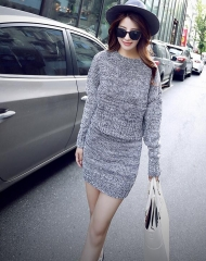 Fashion Winter  Women Sweater Dress Women Clothes Ladies Long Sleeve Stretch Brief Casual gray one size