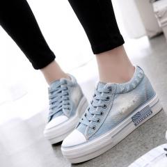 Women Shoes Lace Up Casual Denim Canvas Shoes Woman Platform Casual Ladies Shoes 02 40(women)