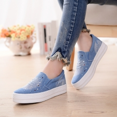 Denim Shoes with Rhinestone Crystal Comfortable Thick Bottom Canvas Shoes Women 01 39(women)