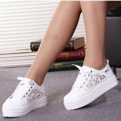 Summer Women Shoes Casual Cutouts Lace Canvas Shoes Hollow Floral Breathable white 35(women)