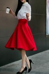 Elegant Skirt Green Black White Knee-Length Flared Skirts Fashion Women Faldas Saia 1 s