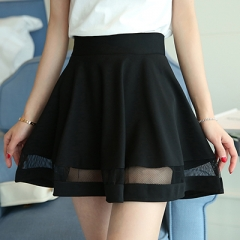 School Style Women's Skirt High Waist Summer A-Line Mini Skirt Slim Pantskirt For Girl With Mesh black s