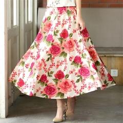 New Fashion printed midi skirt women big swing long skirt ethnic folk-custom linen long 1 ONE SIZE