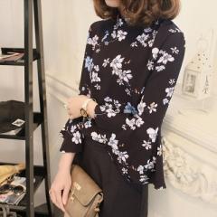 2017 Autumn Floral Chiffon Blouse Women Tops Flare Sleeve Shirt Women Ladies Office Blouse Korean black s
