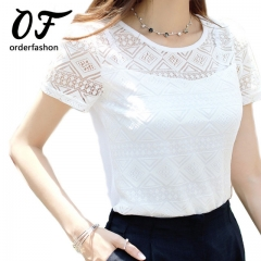 2017 White Short Sleeve Blusa Feminina Hollow Women Top Shirt Blouse Plus Size white s