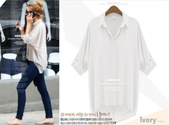 Fastional Casual Blouse Shirt Chiffon Blouse  Collar Solid Blouse For Summer Plus Size Free Ship white s