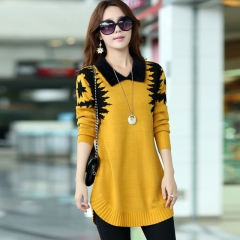 New Fashion Women casual Plus Size Long Pullover lapel Slim Long sleeve Sweater Knitwear yellow xl