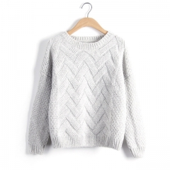 2017 Autumn Winter Women Sweaters And Pullovers Plaid Thick Knitting Mohair Sweater Female Loose white one size