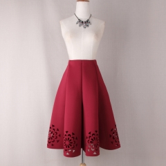2017 Elegant Vintage Floral Crochet Black White Red Women High Waist A Line Zipper Sun Skirts red s