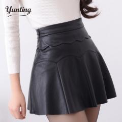 2017 Autumn Vintage Women Fashion Korean Sexy Pleated Skirt High Waist Black Red PU Leather Skirts black s