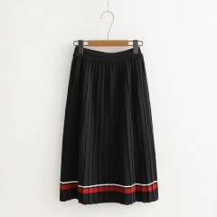 2017 autumn  women's skirts slim tight hip pencil mid skirt ladies stripe long office pleated skirts black one size