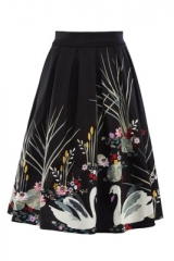 2017 Retro Floral Print Summer Skirts Womens High Midi Skirt Elegant Slim Big Swing Women Skirt black s