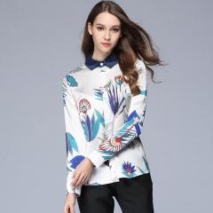 2017 New Fashion Women's Blouses Loose Elegant Long Sleeve Chiffon Blouse Tops blue s
