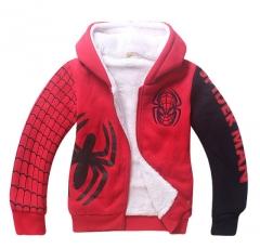 2017 Baby Boys Spiderman Fleece Hoodies/Kids Winter Warm Cartoon Outerwear Clothing red 110cm