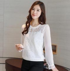 2017 Spring Korean style Women long  Casual Shirt Top quality Patchwork Lace Chiffon Blouse Tops white s