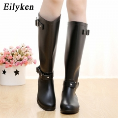 Punk Style Zipper Tall Boots Women's Pure Color Rain Boots Outdoor Rubber Water shoes For Female black 40