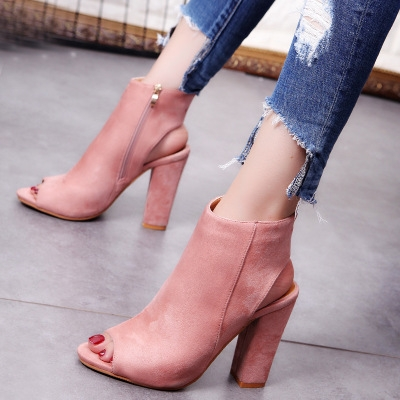 9f5a4af0554f55 2017 Fashion Women\'s Spring Summer Open Toe Boots Casual Faux Suede Ankle  Boots Thick High Heels pink 34: Product No: 861310. Item specifics: Brand:
