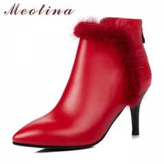Genuine Leather Women Boots Winter Real Fur Thin High Heels Ankle Boots Zip  Lady Leather Boots red 34