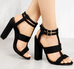 Leather Girl's Sandals Navy Heel Party High Heels Buckle Shoes Woman Khaki Sandals Ankle Strap Heels black 35