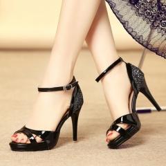 2017 Fashion Women Heels Shoes Pumps Summer Peep toe Cutouts Ankle Strap High Pumps Heels black 34