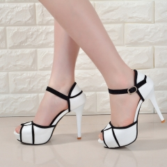 Summer hollow buckle women's shoes European and American fight color fish mouth fine with high heels white 34