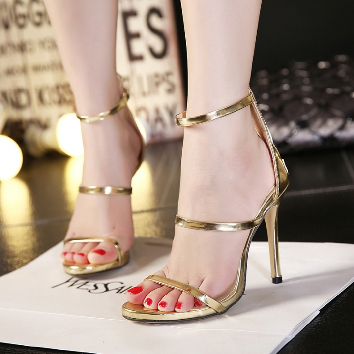 d2002e81b Harmony Metallic Strappy Sandals Silver Gold Platform Gladiator Sandals  Women High Heels Shoes gold 37