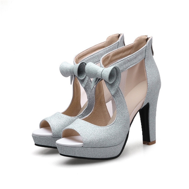 b8cd3d42e1de66 Meotina Women Shoes High Heels Platform Shoes Bow Peep Toe Pumps Sexy High  Heel Party Shoes