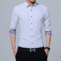 Brand-Clothing Mens Shirts Casual Slim Fit Korean Solid Square Collor White Long Sleeve Shirts white m