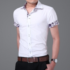 Brand Summer Mens Dress Shirts Short Sleeve Casual Shirt Men Slim Fit Camisa Design Formal Shirt white m