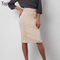 2017 Toplook Split Vintage Suede Bodycon Skirt High Waist Women Knee Length Pencil Skirt beige s