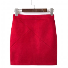 2017 Fashion High Waisted Pencil Women Skirt Suede Tight Bodycon Sexy Mini Short Skirt red s