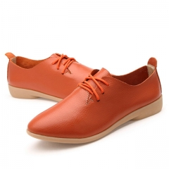 Genuine Leather Oxford Shoes For Women Round Toe Lace-Up Casual Shoes Spring And Autumn Flat Loafers Orange 8.5 US