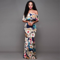 Multi-color floral print off the shoulder long boho maxi dress  sexy african dresses for women as picture s