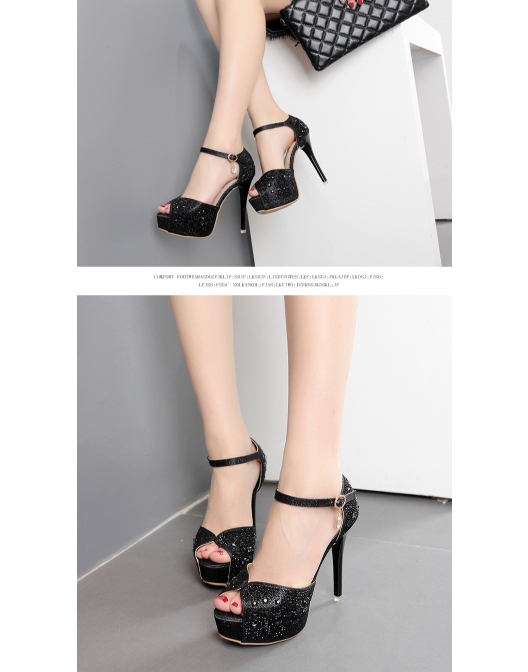 Item Type Sandals Gender Women Upper Material PU Heel Type Thin Heels  Pattern Type Solid Style Fashion Occasion  Casual e1f03739f7a4