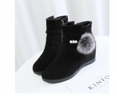 Autumn and winter boots warm short-sleeved flat women's boots black 36