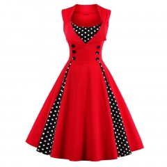 Women Retro Vintage Dress Polka Dot Patchwork Sleeveless  Dress Rockabilly Swing Party Dress green s