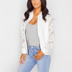 Lace Sleeve Women Basic Coats Long Sleeve Lace Patchwork Transparent Zipper Casual Slim Jacket Coat White S