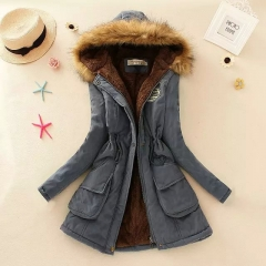 Women Winter Coat Thickening Cotton Winter Jacket Womens Outwear Parkas for Women Winter DarkBlue XXXL