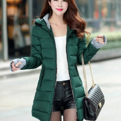 Women winter hooded warm coat slim plus size candy color cotton padded basic jacket Dark Green M