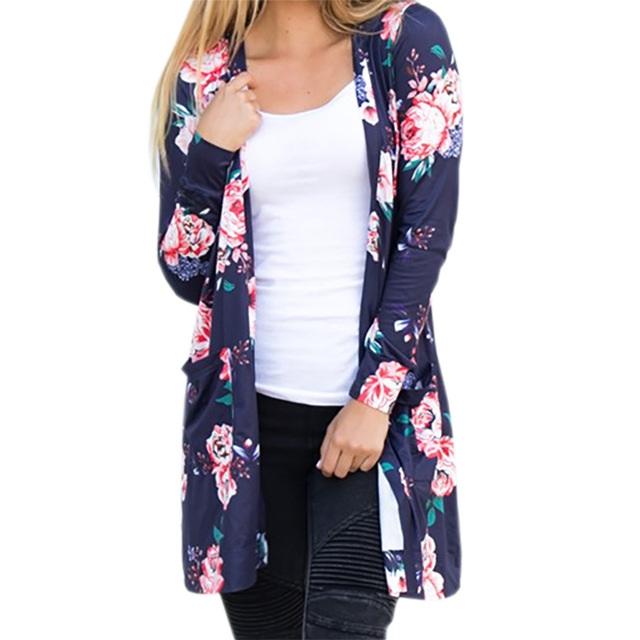 ultimo sconto codice coupon vendite speciali Summer Coat Woman Kimono Jacket Casual Floral Cardigans Jackets WS1105 Navy  Blue S
