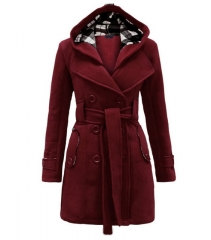 Womens Fashion Woolen Double Breasted Pea Coat Casual Hoodie Winter Warm Jacket WineRed XL